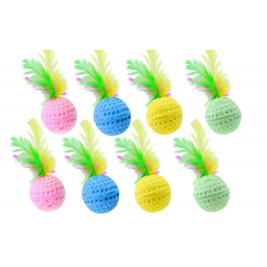 Nargos 1.5 Dia Colorful Golf Sponge Balls Cats Toys With Feathers