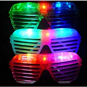 itisyours Flashing LED Light up Slotted Shutter Sunglasses Shades Party Favors Bag Fillers (12)