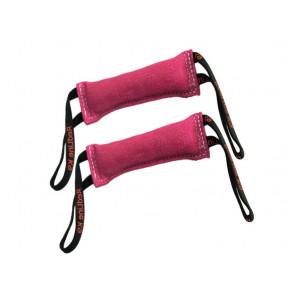 """Bundle of 2 Pink French Linen Dog Tug Toys (3"""" X 10"""") 2 Handles Redline K9"""