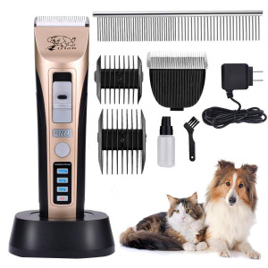 Rision Pet Clippers, Low Noise Rechargeable Cordless Dog Trimmers Professional Animal Grooming Shavers for Thick Hair Dogs, Cats, Rabbits and Horses