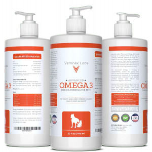 Omega 3 Fish Oil for Dogs and Cats - Pure, Wild Caught, All Natural Formula Supports Supports Healthy Skin, Coat, Joints, Heart and Immune System - Higher Levels of EPA and DHA than Salmon Oil