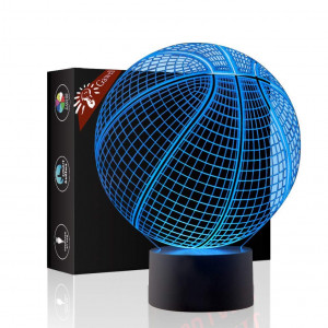 Basketball 3D Illusion Birthday Gift Lamp , Gawell 7 Color Changing Touch Switch Xmas Decoration Night Light Acrylic Flat and ABS Base and USB Cable Toy for Basketball Sports Theme Fans