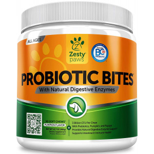 Zesty Paws Probiotic for Dogs - with Natural Digestive Enzymes + Prebiotics and Pumpkin - for Diarrhea and Upset Stomach Relief + Gas and Constipation - Allergy and Immune + Hot Spots and Bad Breath Aid