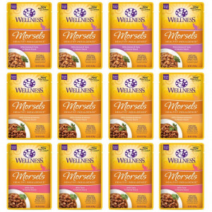 Wellness Healthy Indulgence Natural Grain Free Wet Cat Food Variety Pack, 3-Ounce Pouches (4) Morsels Chicken and Salmon, (4) Morsels Tuna, (4) Morsels Salmon and Tuna (12 Pack Bundle)