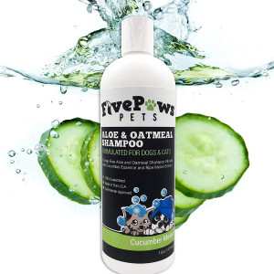 Soap Free Aloe and Oatmeal Hypoallergenic Pet Shampoo, Relieves Dry Flaky Itchy Skin, Natural Cucumber and Melon Scent, for Dogs Cats and Horses 16 oz