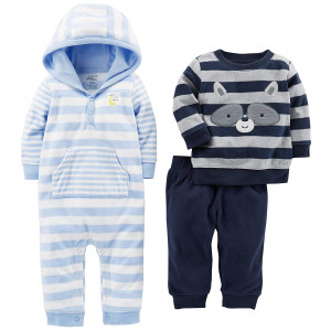 Simple Joys by Carter's Baby Boys' 3-Piece Fleece Playwear Set - Fleece Hooded Jumpsuit, Pants, and Sweater