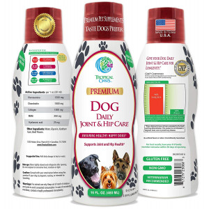 VETERINARIAN DEVELOPED Liquid Hip and Joint Supplement for Dogs w/ Glucosamine, Chondroitin, MSM, Hyaluronic Acid and Collagen - Fast Joint Relief for Dogs - Great Taste! -16oz, up to 128 Serv.