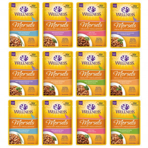 Wellness Healthy Indulgence Natural Grain Free Wet Cat Food, 3-Ounce Pouch (2) Chicken and Salmon, (2) Tuna, (2) Salmon and Tuna, (2) Chicken and Chicken Liver, (2) Turkey and Duck, (2) Chicken and Turkey