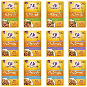 Wellness Healthy Indulgence Natural Grain Free Wet Cat Food Variety Pack, 3-Ounce Pouches (4) Morsels Chicken and Chicken Liver, (4) Morsels Turkey and Duck, (4) Morsels Chicken and Turkey (12 Pack Pouches)