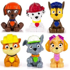 Kids Paw Patrol Mini Figures Set of 6 - Rocky, Zuma, Skye, Rubble, Marshall and Chase