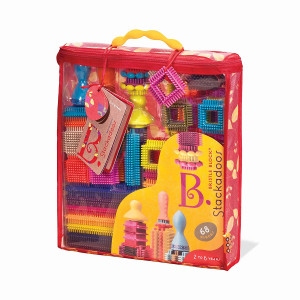 B. toys - Bristle Blocks Stackadoos  68 Toy Blocks in a Storage Pouch  BPA Free STEM Toys Building Blocks for Kids 2 years +