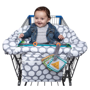 Boppy Luxe Shopping Cart and Restaurant High Chair Cover, Gray Jumbo Dots