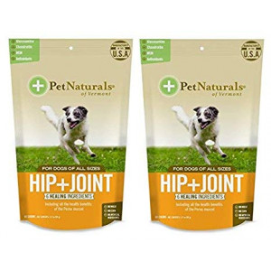 Pet Naturals 2 Pack of Hip and Joint Chews for Dogs, 60 Count each, with Glucosamine and Chondroitin