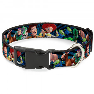 """Buckle-Down Plastic Clip Collar - Toy Story Characters Running2 Denim Rays - 1/2"""" Wide - Fits 9-15"""" Neck - Large"""
