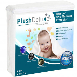 PlushDeluxe Crib Mattress Protector 100% Waterproof, Hypoallergenic, Vinyl Free  Bamboo Quilted Ultra Soft White Terry Fitted Sheet Style