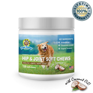 Glucosamine for Dogs   Advanced Hip and Joint Support   With Organic Turmeric, Chondroitin, MSM, Coconut Oil   Supports Healthy Joint Function and Helps with Pain Relief for Your Dog