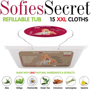 """SofiesSecret PET Bath Wipes, 12""""x12"""" for Dogs + Cats, Infused with ONLY 100% Natural and Organic Extracts, Rinse Free Grooming Wipes for Paws, Coat, Face, Ears, Skin, Teeth"""