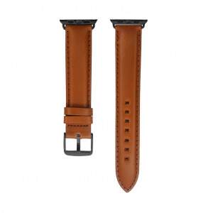 IVAPPON Extra Long Light Brown Genuine Leather Watch Band Replacement for Apple Watch 85x125mm Gun Black Adapter