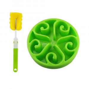 Slowton Pet Slow Feeder Bowl, Non Toxic Bloat Stop Interactive Dog Feed Water Bowl Fun Puzzle Dish with Non Skid Base Prevent Choking Indigestion Vomiting with Bonus Clean Brush