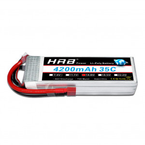 HRB 4S 14.8v 35C 4200mAh Lipo Battery Pack with Deans T Plug for RC Helicopter Airplane Hobby