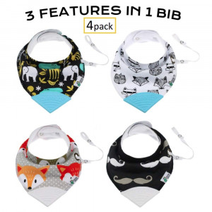 TicklesandWiggles Organic Baby Bandana Bibs for Teething, Drooling Infant - Teether, Adjustable Snaps, Pacifier/Toy Tether