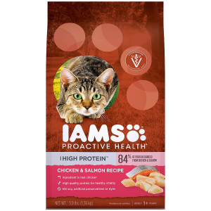 Iams Proactive Health High Protein Adult Dry Cat Food With Chicken and Salmon, 3 Pound Bag