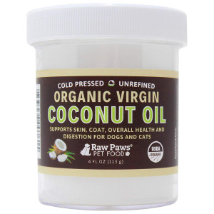Raw Paws Organic Virgin Coconut Oil for Dogs and Cats - Supports Immune System, Digestion, Oral Health, Thyroid - All Natural Allergy Relief for Dogs, Hairball Relief, Tick Flea Control for Dogs