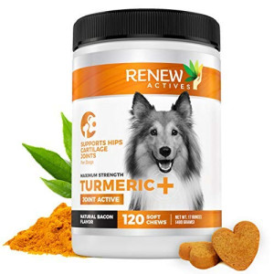 Renew Actives Dog Joint Pain Support Supplement Natural, Advanced Organic Turmeric Joint Supplement for Dogs - Canine Chewable Hip, Joint and Arthritis Formula for Mobility - 120 Soft Chews