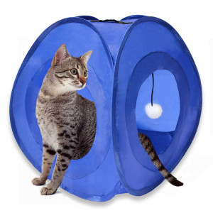 MyDeal Pop Up Instant Kitty Play and Sleep Tent with Portable, Foldable Design and Built in Toy for Cats , Kittens , and other Small Animals!