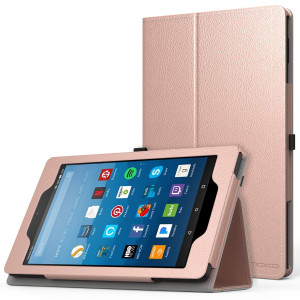 MoKo Case for All-New Amazon Fire HD 8 Tablet (7th/8th Generation, 2017/2018 Release) - Slim Folding Stand Cover for Fire HD 8, Rose Gold (with Auto Wake/Sleep)