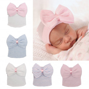 7 Pieces Adorable Baby Knot Headbands Newborn Elastic Sretch Head Wrap Baby Hat