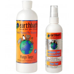 Earthbath Natural Dog Mango Tango Grooming Bundle - (1) Each: Shampoo and Conditioner (16 ounces) and Deoderizing Spritz (8 Ounces)