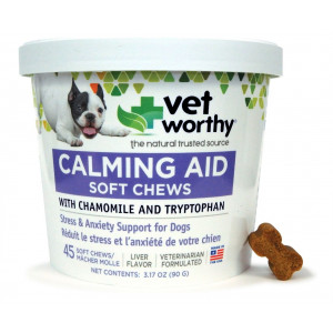 Vet Worthy Calming Aid Liver Flavored Soft Chew for Dogs (45 Count)