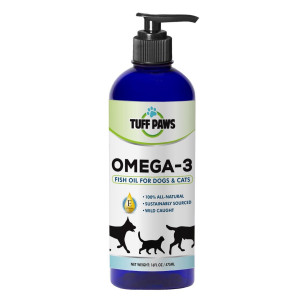 NEW PREMIUM OMEGA 3 Fish Oil Liquid Supplement with VITAMIN E for Dogs and Cats By Tuff Paws - Wild Caught Organic Fish Fatty Acids Support Immune System, Skin Health, Mobility and Joint Pain Relief 16 oz