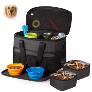 Hilike Pet Travel Bag for DogandCat -Weekend Tote Organizer Bag for Dogs Travel -Incudes1 Dog Tote Bag,2 Dog Food Carriers Bag,2 Pet Silicone Collapsible Bowls.(Black)