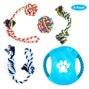 GEEPET Dog Rope Toys for Small to Medium Dogs Overfly Dog Puppy Teething Toy Chew Rope Tug(Set of 5)