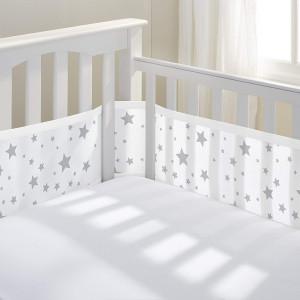 BreathableBaby Mesh Crib Liner, Starlight White and Gray (Starlight)