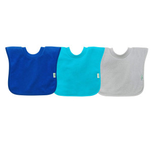 green sprouts Pull-Over Stay-Dry Toddler Bib (3-Pack), Blue Set, 9-18 Months