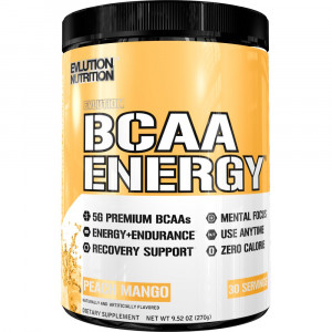 Evlution Nutrition BCAA Energy - High Performance, Energizing Amino Acid Supplement for Muscle Building, Recovery, and Endurance (Peach Mango, 30 Servings)