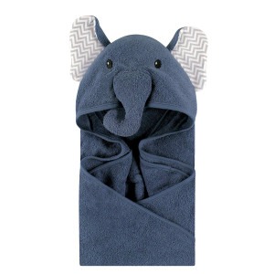Little Treasure Animal Face Hooded Towel, Chevron Elephant
