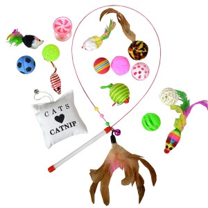 Downtown Pet Supply Best Value Cat Toys Variety Bundle Set with Wand, Balls, Mouses, Catnip, 16 or 35 Fun Interactive Cat Toys