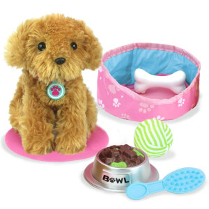 "Sophia's 18"" Doll Sized Puppy with Bed, Food, Bone and Accessories, Gold, Pink"