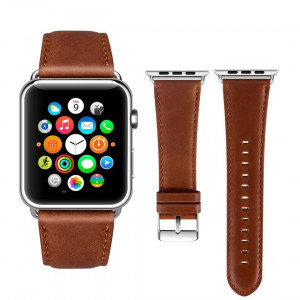 Viodo wu188 Apple Watch Band Leather 42mm, Version iWatch Strap Premium Vintage Crazy Horse Genuine Leather Replacement Band for Apple Watch Series 3 Series 2 Series 1 Sport and Edition (Red Brown)