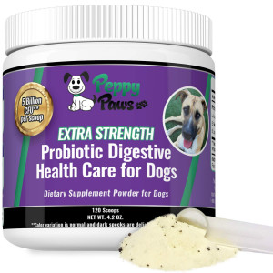 Probiotics for Dogs - Improves Dog Diarrhea - Constipation - Gas - Yeast - Bad Breath - Dog Allergies - All Natural Probiotic Powder - 5 Billion CFUs - Probiotics for Puppies to Seniors - 120 Scoops