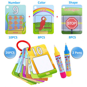 Kingseye Water Painting Graffiti Book Card 26pcs Chidren's Early Education Cognitive Cards Colouring Doodle Board 2 Magic Drawing Pens Games Toy for Toddlers Kids Baby  Number, Shapes and Colors