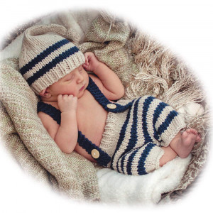 ISOCUTE Newborn Photography Props Baby Boy Knitted Outfits Crochet Hat Pants Set