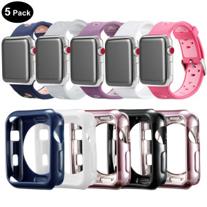 Compatible Apple Watch Band with Case 38mm [5 Pack], MAIRUI Silicone Breathable Replacement with Cover Bumper for Apple Watch Series 3/2/1, iWatch Sport/Edition/Nike+