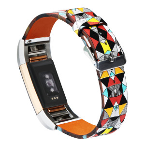 Dailylux Fitbit Charge 2 Bands, Genuine Leather Replacement Bands Easy Cleaning Fitness Wristband with Stainless Steel Buckle for Fitbit Charge 2 Strap Outdoor Fashion-Colorful Stone