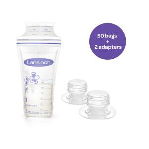 Lansinoh Breastmilk Storage Bags, 50 Count Convenient Milk Storage Bags for Breastfeeding, Includes 2 Free Pump adapters