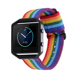 Bandmax Compatible for Fitbit Blaze Bands,Denim Fabrics Rainbow Band Replacement with Black Frame Buckle Compatible Fitbit Blaze Smart Fitness Watch
